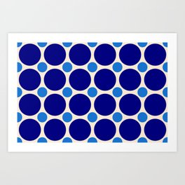 Navy and Light Blue Circles Art Print