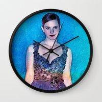 emma watson Wall Clocks featuring Emma Watson - Blue by André Joseph Martin