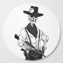 Sheriff with mustache and rifle Cutting Board