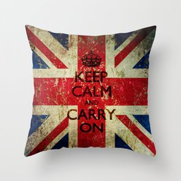 Scratched Metal/Grunge Keep Calm and Carry On Union Jack Throw Pillow