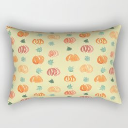 Pumpkins with Leaves Pattern on Pale Goldenrod Rectangular Pillow