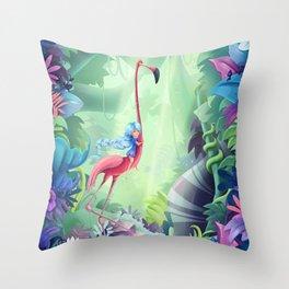 Girl & Flamingo Throw Pillow