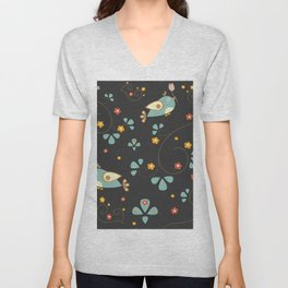 Bird Seamless Pattern. Bullfinch birds  Unisex V-Neck