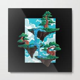 Bonsai floating island bonsai trees and waterfall Metal Print