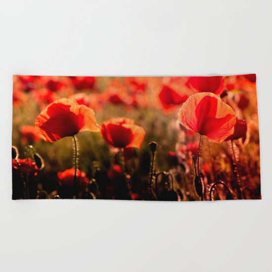 Fiery poppy field - Red Poppies Flowers Beach Towel