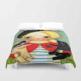 French girl with black pug and fawn pug Duvet Cover