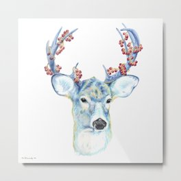 Christmas Deer - Forest animals series Metal Print