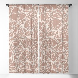 Creamy Off White SW7012 Thick Hand Drawn Scribble Mosaic Pattern on Cavern Clay SW 7701 Sheer Curtain