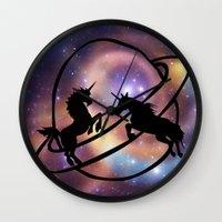 unicorns Wall Clocks featuring Space Unicorns by haroulita