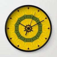 bees Wall Clocks featuring Bees by Deborah Janke