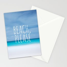 Beach please funny ocean coast photo hipster travel wanderlust quotation saying photograph Stationery Cards