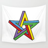 pentagram Wall Tapestries featuring Impossible Pentagram by Stephen Kemmy Graphic Designer