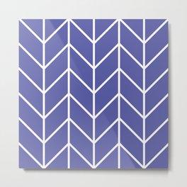 Herringbone Chevron (Blue Iris) Metal Print
