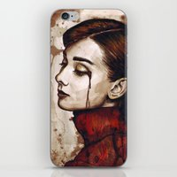 audrey hepburn iPhone & iPod Skins featuring Audrey Hepburn by Olechka
