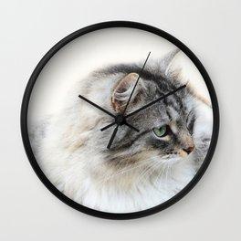 Silver Cat Wall Clock