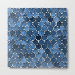 Blue Silver Mermaid Scales Metal Print