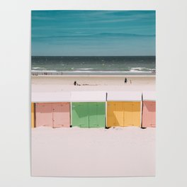 Beach Cabins North Sea Poster