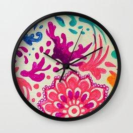 Watercolor Doodles Wall Clock