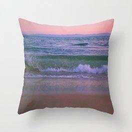 Pink Sunset Ocean Throw Pillow