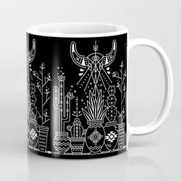 Santa Fe Garden – White Ink on Black Coffee Mug