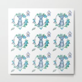 Lufkin Mouse Repeat Pattern Blue Illustration - Bagaceous Metal Print