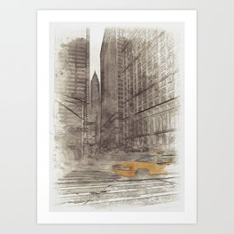 NYC Yellow Cabs Trinity Place - SKETCH Art Print