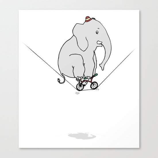 Elephant on a wire Canvas Print