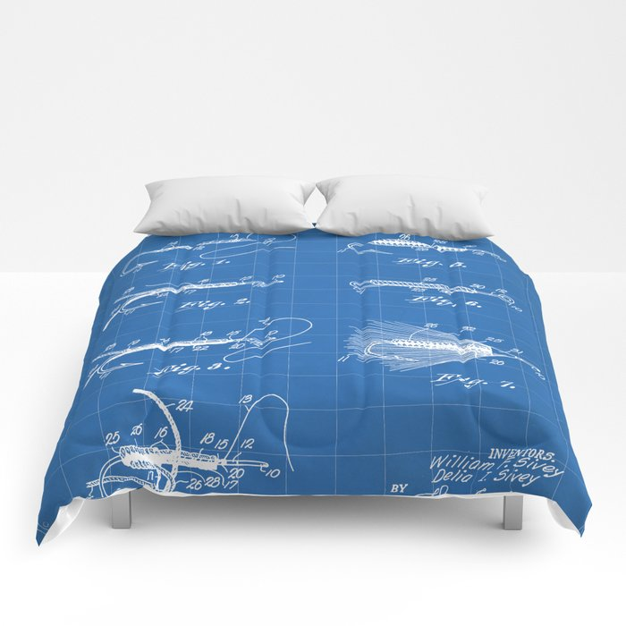 Fly Fishing Patent - Fisherman Art - Blueprint Comforters