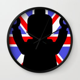 MINIFIG WITH UNION JACK by Chillee Wilson Wall Clock