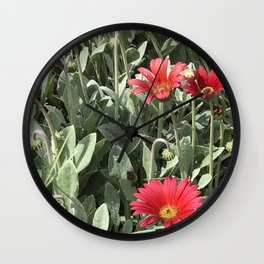 Red Daisy Botanical Wall Clock