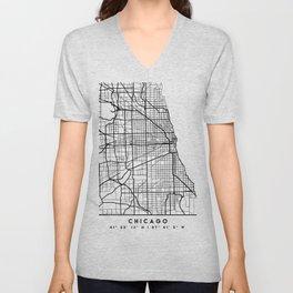 CHICAGO ILLINOIS BLACK CITY STREET MAP ART Unisex V-Neck