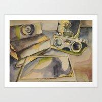 cameras Art Prints featuring Cameras by Fiona Fergusson