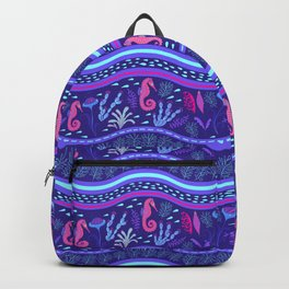 Purple wavy sea pattern with sea horses and algae. Backpack
