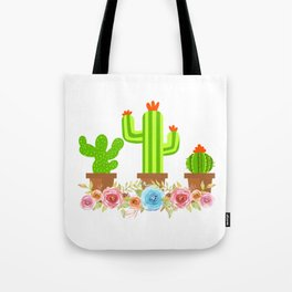 Simple Greeny Cactus Plant Tee For You With Illustration Of A Simple Flowery Cactus T-shirt Design Tote Bag