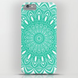 Minimal Aqua Seafoam Mint Green Mandala Simple Minimalistic iPhone Case