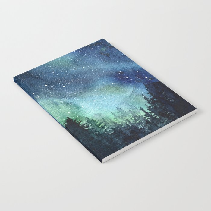 Galaxy Watercolor Space Night Sky Nebula Painting Aurora Notebook by ...