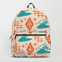 Mid Century Modern Space age Boomerang Pattern Turquoise and Orange 329 Backpack