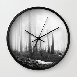 Mist at Sequoia National park Wall Clock
