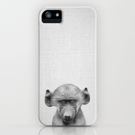 Baby Baboon - Black & White iPhone Case