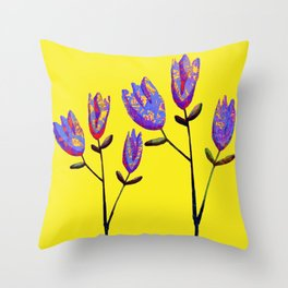 stylized flowers Throw Pillow
