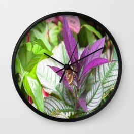 Orange Lacewing Butterfly Wall Clock