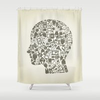 medicine Shower Curtains featuring Head medicine by aleksander1