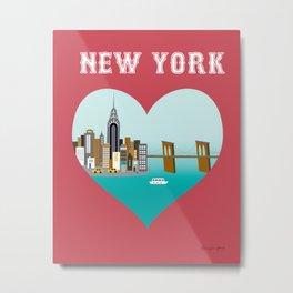 New York City, New York - Skyline Illustration by Loose Petals Metal Print