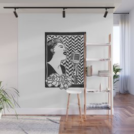 Lady Day (Billie Holiday block print blk) Wall Mural