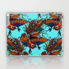 rooster ink turquoise Laptop & iPad Skin