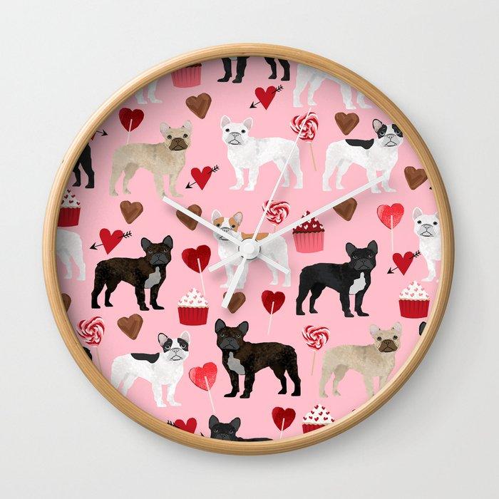 French Bulldog love hearts valentines day custom dog pet portrait pet friendly dog breeds Wall Clock