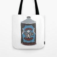 die hard Tote Bags featuring Die Hard Lager by Moto
