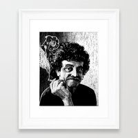kurt vonnegut Framed Art Prints featuring Kurt Vonnegut by Topher Rasmussen