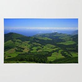 Green coastal landscape Rug