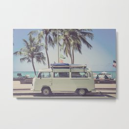 bus, van, beach, hippie, tropical, summer, travel, explore, adventure, wanderlust, travel van, boho Metal Print